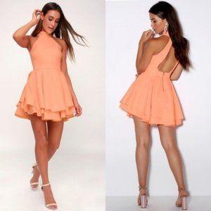 Lulus Dress Rehearsal Bright Peach Skater Dress